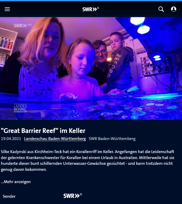 Report about Teck-Corals in German TV SWR